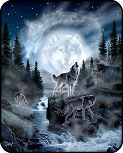"""New 79""""x96"""" Queen Size Wolf Pack Wolves And Moon Mink Blanket Super Plush Fleece"""