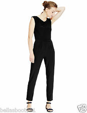 M&S Collection Black Tapered Leg Jumpsuit Size-16 Reg-BNWT