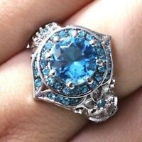 2 Ct Round Aquamarine Ring Women Wedding Jewelry Gift 14K White Gold Plated