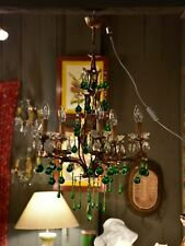Vintage French gilded chandelier with green glass drops