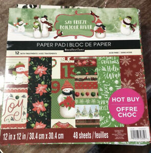 SAY FREEZE 12x12 Christmas Winter Scrapbook Cardstock Paper Pad RECOLLECTIONS