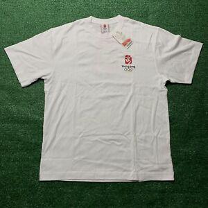 Beijing Olympics T Shirt 2008 China Graphic Rings Logo Sports White Size XL New