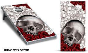 Cornhole Bean Toss Game Corn Hole Vinyl Wrap Decal Bones 2-Pack