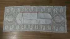"""New listing Antique Fancy Lace Runner, Dresser Scarf 17""""x38"""", Couples"""