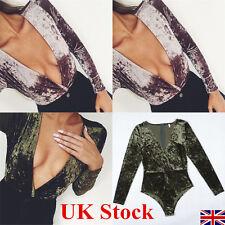 UK Womens Velvet Winter Plunge Bodysuit Jumpsuit Deep V Neck Leotard Tops Blouse