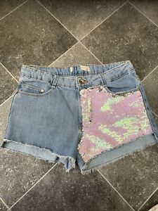 Girls Ex H&M Reversible Sequin Denim Shorts Age 11-12 Years New Seconds