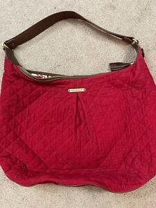 Retired Vera Bradley XL Red Corduroy Brown Leather Hobo Handbag Purse