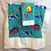 Vintage 2 Piece Beautiful Aquarium Fish Towel Set - Matching Bath & Hand