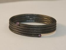 JOHN HARDY Sterling Silver Black Rhodium Coil Wrap Bracelet With Garnets