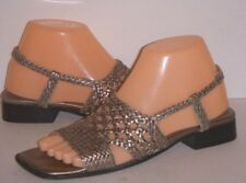 SESTO MEUCCI Metallic Leather Woven Slingback Sandals Size 7.5 N Italy