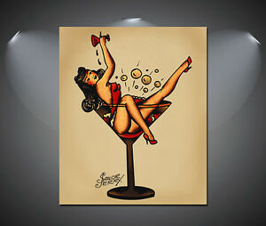 Sailor Jerry Pin Up Girl Tattoo Vintage Large Poster - A1, A2, A3, A4 sizes