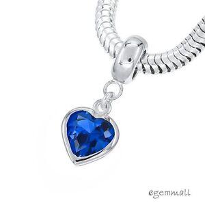 Sterling Silver w/ Swiss Blue CZ Heart Charm Stopper Fit European Bracelet 94258