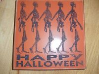 """Primitives By Kathy Happy Halloween Wooden Sign 9 3/4"""" By 9 3/4"""" NEW"""