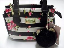 LUV BETSEY JOHNSON Pom Pom Black White Stripe Rose DINA Crossbody Bag Purse $58