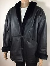 CHARLES KLEIN 100% LEATHER Luxury Zip Up Jacket L Faux Fur Reversible,was $ 455