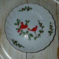 """Vintage Lefton 1984 Cardinals & Holly Christmas Candy nut dish 5"""""""
