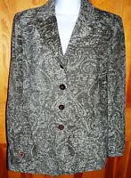 Women's Tapestry Style Blazer Jacket ~ Green / Gray ~ Size 12-14