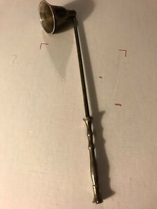 """Great Vintage Patina Silver Plate Candle Snuffer 10"""" long Extinguish Candles"""