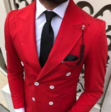 Designer Business Zweireiher Rot Herrenanzug Doppelreiher Tailliert Slim Fit 52