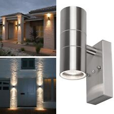 Auto Dusk Till Dawn Sensor Outdoor Up Down Wall Light Stainless Steel - SILVER