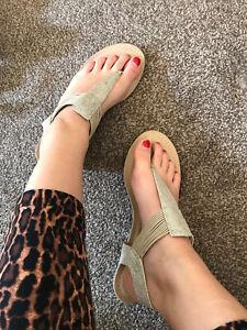 Womens Next Lovely Gold Flat Sandals Uk 7