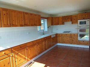 Used pine kitchen units, integrated fridge freezer oven microwave dishwasher hob