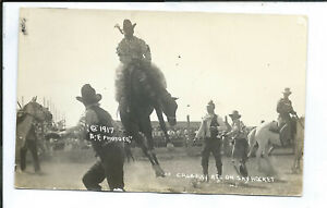 RPPC Postcard Cowboys Western Rodeo Calgary Red on Sky Rocket 1917