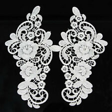 1 Pair Flower Lace Trimming For Costume Dress Decor Sewing Applique Off White