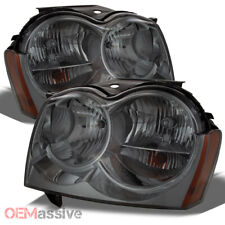 Fit 05-07 Jeep Grand Cherokee Smoked Headlights Replacement 2005-2007 Left+RIght
