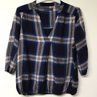LADIES M & S Collection Navy Blue Shirt TOP TUNIC SIZE 14 (663)