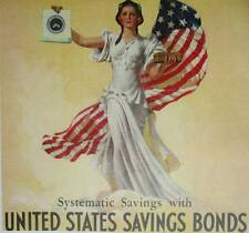 Lady with Flag WW2 United States savings Bonds Poster Art Print