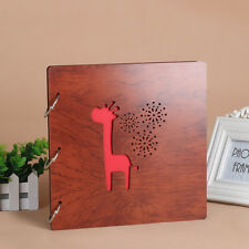 DIY 30Pg 26.9 x 26.4cm Wood Cover 3Rings Photo Album Wedding Scrapbook Giraffine