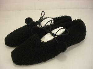 Women's 8 M 38 Sleeper Brand Lulu Shearling Fur Slippers Black Ballet Flat Shoes