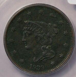 1839-P 1839 Braided Hair Cent ICG AU55 Details Type 1840