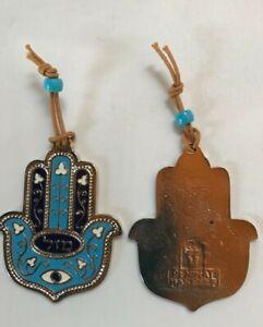 "WALL HANGINGMini Chamsah Plaque Blue Enamel MAZAL 3"" Long - Made in Israel"