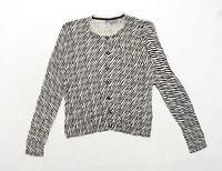 Laura Ashley Womens Size 14 Animal Print Cotton Beige Cardigan (Regular)