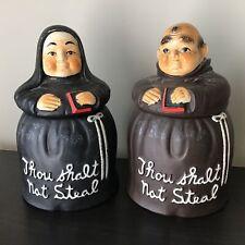 Twin Pair Of 'Thou Shalt Not Steal' Ceramic Monk & Nun Cookie Jars #8784