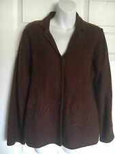 DRESSBARN Wool Embroidered Button Down Brown Long Sleeve Sweater - Size PL