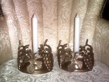2 VINTAGE BRASS CANDLE HOLDERS~GRAPES & LEAVES DESIGN~HANDMADE IN INDIA