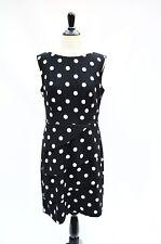CONNECTED APPAREL Black White Polka Dot Sleeveless Tank SHEATH DRESS 10 M