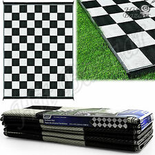 REVERSIBLE PATIO MAT RV Outdoor Trailer Camping Rug Checkered Picnic Deck Pad