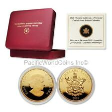 Canada 2010 British Columbia Coat of Arms $300 14K Gold with Box & COA #195