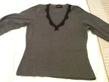 Ladies T shirt . Grey with black lace . size S/M.