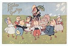 Antique Easter Postcard Humanized Dressed Hen Chicks Dance in Circle Umbrella