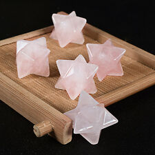 2PCS Natural Rose Quartz Merkaba Star Protection Healing Anti Radiation Crystals