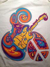 Hard Rock Cafe T-Shirt LS Staff 1990s Groovy Peace Tee XL Guitar Psychodelic