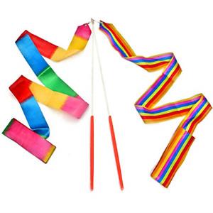 Dance Ribbons Rainbow Streamers Rhythmic Gymnastics Ribbon Baton Twirling Wands