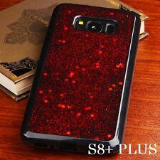 For Samsung Galaxy S8+ PLUS - Red Glitter Star Dust Soft Black Gel Rubber Case