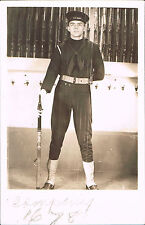 RPPC Real Photo Postcard USA Navy Sailor At Attention w Rifle Near Rifle Rack