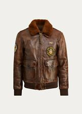 New Polo Ralph Lauren Leather Shearling-collar The Iconic G-1 Bomber Brown sz M
